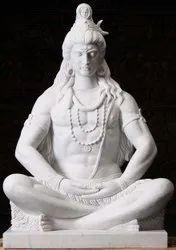 30 Inch White Marble Shiv Statue