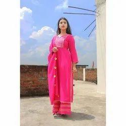 Ladies Pink Palazzo Suit