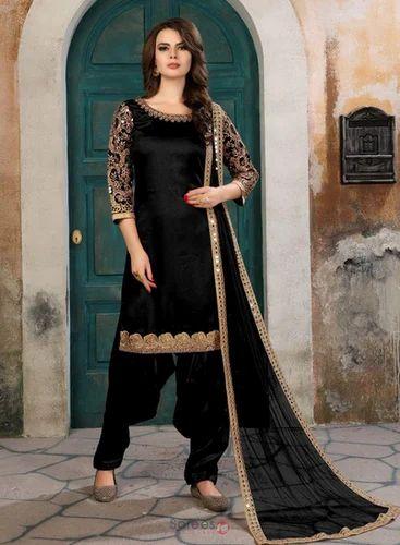f3dddeb06e Black 34-46 Inch Art Silk Heavy Embroidery Work Party Wear Patiala Style Punjabi  Suits