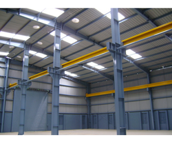 White Stylish Industrial Steel Fabricated Shed Structure, Built Type : Panel Build