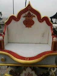 Outdoor White Small Marble Singhhasan, for Workshop