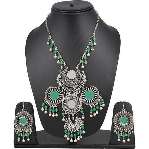 210a090d23ee4 Silver Oxidised Artificial Necklace Set