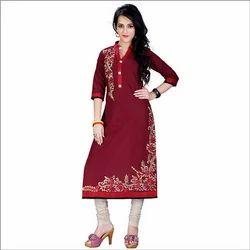 Large Cotton Ladies Red Kurti