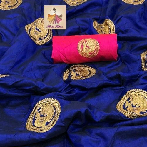 9613ca4dd5d19 Sana Silk Blue Saree And Blouse