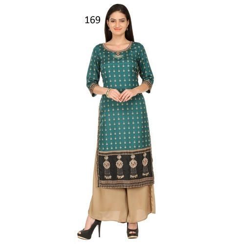 Women Printed Casual Wear Kurti, Size: M and L