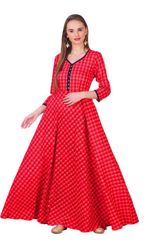 7a78116858 Printed Cotton Long Anarkali Gowns