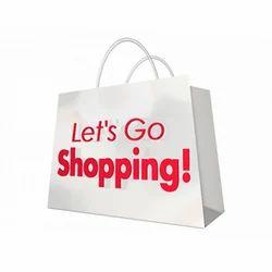 Base White Kraft Paper Printed Shopping Bag
