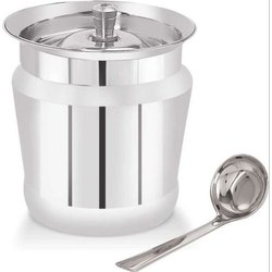 Stainless Steel Lunar Ghee Pot, Grade: SS202, Size: 94x94x115 Mm