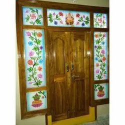 Printed Glossy Airbrushing Floor Decorative Glass, Thickness: 4mm