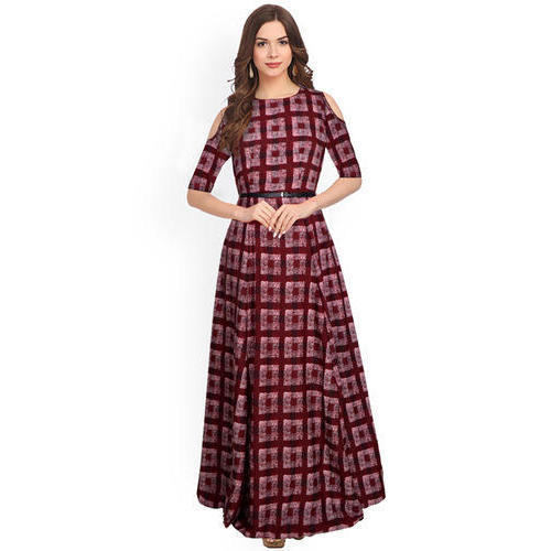 3f59a2154adde Ladies Check Print Gown, Size: M & XL, Rs 699 /piece, World Fab Wear ...