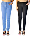 Sky Blue And Black Women Jeans