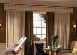 Plain Motorized Curtain, For Home, Remote