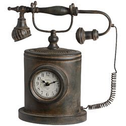 Deluxe Design Antique Vintage Telephone With Clock