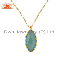 18K Gold Plated 925 Silver Aqua Chalcedony Gemstone Chain Pendant