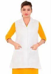 White Unisex HP28 Apron Sleeveless Doctor Lab Coat, For Hospital
