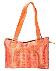 Orange Genera Cotton Jacquard Floral Self Weaved Peach Hand Bag, 280 Gms, for Casual Wear