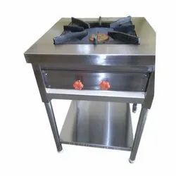 Stainless Steel Single Burner Gas Stove, Size: 24x24x34 Inch