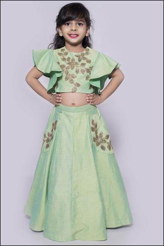69e02580e05c0f Beautiful Spearmint Heavy Designer Kids Wear Lehenga Choli at Rs ...