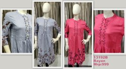 Screen Printed Ladies Casual Rayon Kurti