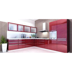 Maroon L Shape Modular Kitchen
