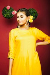 Yellow Embroidered Kurta With Palazzo