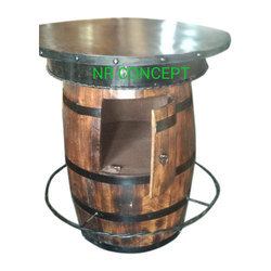 Wooden Brown Round Barrel Table