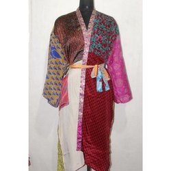 Women's  Vintage Silk Sari Long  Patchwork Kimono Bath Robe Dress