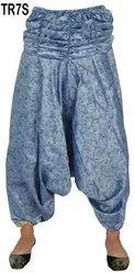 Female Vintage Silk Sari Genie Harem Pants Boho Gypsy Trousers TR7S, Size: Free