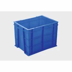 Blue Rectangular 30L Plastic Industrial Crate