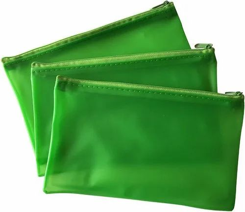 """See Through Exam Clear Translucent 8x5/"""" Frosted Green Pencil Case"""