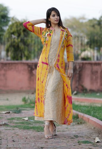 Yellow Embroidered Shibori Jacket Style Kurti