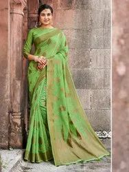 Green Banarasi Jute Linen Saree  With Blouse Piece