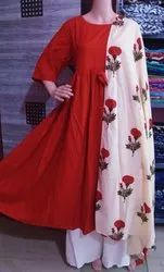 Long Frock with Palazzo & Printed Dupatta
