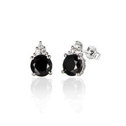 Ornate Jewels Black and White Solitaire Studs Earrings