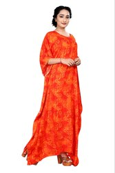 Long Rayon Printed Ankle Length Women Kaftan