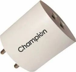 Plastic Ampere: 2.1 aMp Champion Champ 2213 Power Wall Adapter 2.1A Quick Charging, Capacity: 1150, Dc5v / 1.0 A