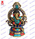 Lord Ganesh Standing W/Ring W/Stone Statue