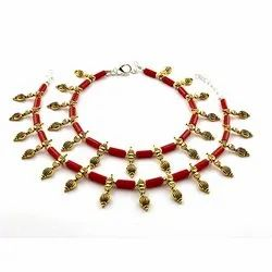 Oxidized Red Stone Anklets