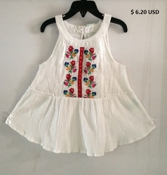 Girls cotton Crepe embroidered top