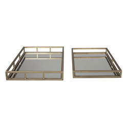 Stainless Steel 2 Piece Rectangle Antique Gold Tray Set
