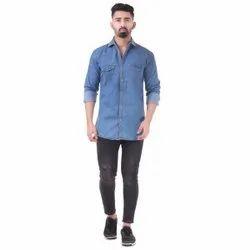 Plain Blue Mens Fancy Denim Shirt, Size: S-XXL