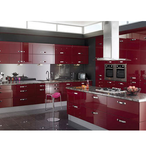 Maroon Designer Kitchen Cabinet, Rs 1100 /square Feet