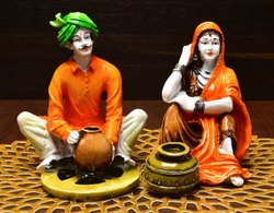 Karigaari Traditions of Rajasthani Lady with Water Matka and Man Making Pottery Pottery Idol