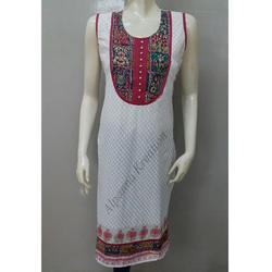 Cotton Khade Work Printed Kurtis
