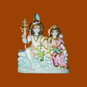 Marble Shiv Ganesh With Parvati Statue