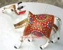 Metal Cow Meena Work Statue
