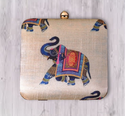 Tussar Silk Colorful Box Clutch