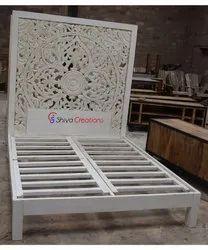 Indoor White Indian Hotel Bedroom Furniture High Carved Wooden Headboard Bed Design