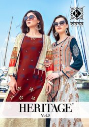 Heritage Vol 3-Kiana Rayon And Two Tone With Hand Work Long Anarkali Festival Kurtis For Festival