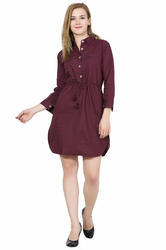 Galaxy Trendz Maroon Ladies Cotton Dress